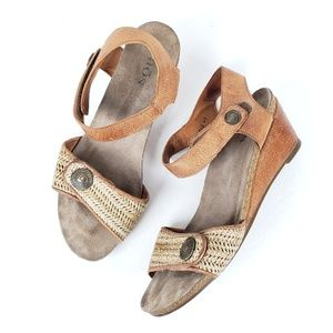 Taos holiday comfort leather strappy wedge sandal